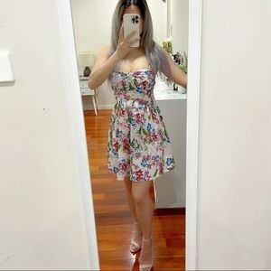 Forever New Pink Floral Pink A-line Mini Dress Size 6